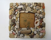 Beach Rock Frame 3.5 x 3.5, Rustic Beach Frame, Coastal Home Decor (MADE TO ORDER)