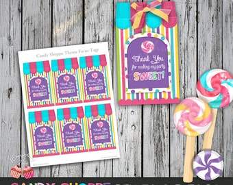 Sweet Candy Shoppe Birthday Theme Favor Tags