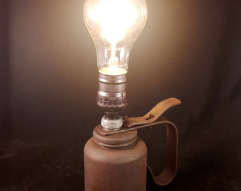 Vintage Steampunk Rusty Oil Can Light with Edison Bulb