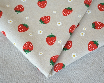 Red strawberry cotton fabric 19.68 x 55.11 inch
