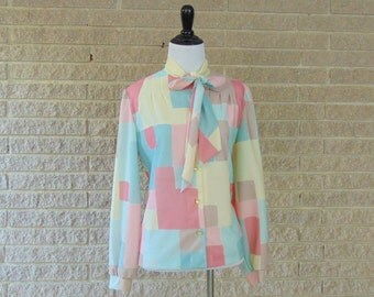 Vintage Blouse | 1980s | Pastel Secretary Blouse | Large