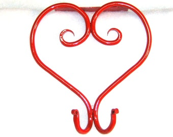 cubicle metal heart coat hook for 2 and 3 inch office divider partition hand forged red or satin black black cubicle coat hook