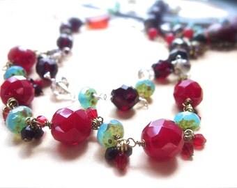 Western Necklace, Sundance Style Necklace, Southwestern Style, Boho Jewelry, Wire Wrapped Necklace, Crystal Jewelry, *DANCINGSKY*