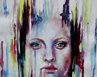 "Original Watercolor ""Disappearing"" Surreal Portrait Mixed Media Canvas Paper Painting Wall Art"