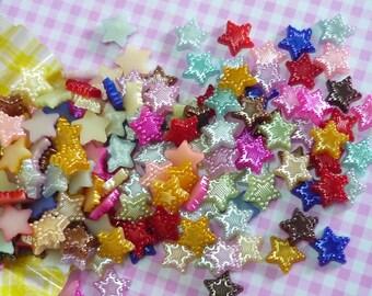 50 pcs/100 pcs/200 pcs 11mm Mixed/Assorted Pearlised Star Flatback Cabochon Pearl Cabochons, Kawaii Decoden. DIY Phone Decoration