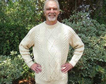 "Traditional Aran Sweater, Blarney, Handknit in Ireland, 50"" Chest, 100% New Wool, Mens or Unisex"