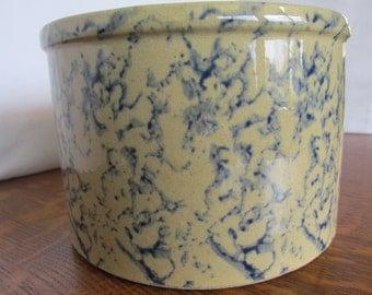 Vintage Spongeware Kitchen Crock