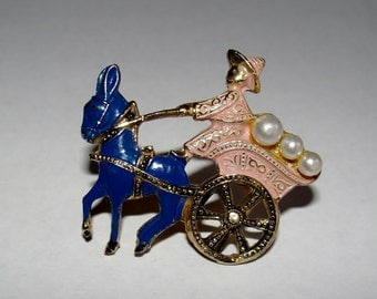 Damascene Mule Drawn Cart and Driver Pin Brooch Vintage Costume Jewelry Pearl Beads