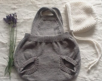 Vintage style, hand knitted baby romper. Pale Grey Retro style baby Romper. Baby overalls. Knitted Romper suit.Made to order.