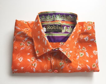 Mens shirt floral print white floral on zingy orange with separate purple floral detailing inside collar Short sleeves VERY Lightweight