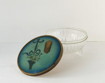Vintage Ribbed Glass Powder Box with Flower Basket Lid Teal Ombre and Brass Accents, 1930s 1940s Trinket Box, Dressing Table Accessory