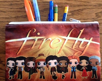 Firefly Cosmetic Bag - Firefly Pencil Bag - Chibis of Serenity's Crew - Mal, Zoe, Jayne, Wash, Kaylee, Inara, Simon, River and Shepherd Book