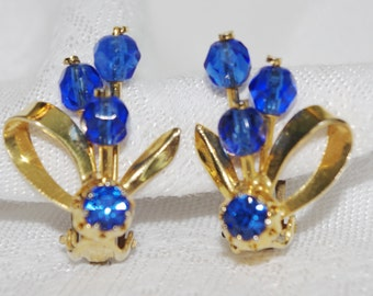Vintage Earrings:  Bright Blue Flower and Leaves Rhinestones and Beads 1960s