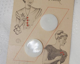 1940s Vintage Button Card: Lady Washington Pearls Cute Graphics
