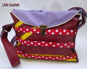 bag slung leatherette Burgundy and purple and pea tissues