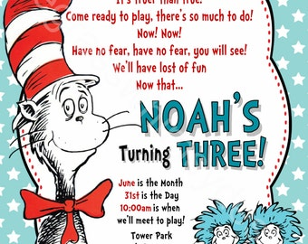 Cat in the Hat, Thing 1 & Thing 2, Red Fish, Dr. Seuss Printable Birthday Party Invitation DIY