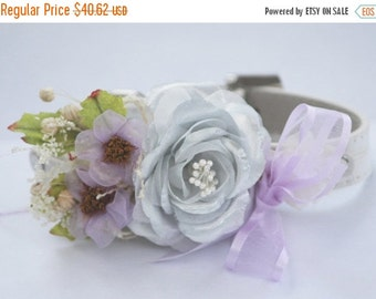 Silver Purple Wedding dog Collar. White Leather Collar with Silver and Light Purple flowers, Floral Dog Collar, Unique Wedding Dog Collar