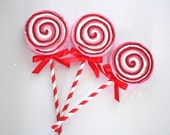 Pink and Red Peppermint Lollipop Ornaments SET OF 3