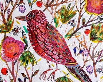 Bird Painting Bird Art Bird Watercolor Bird Flowers Bird Wall Art Bird Fine Art Bird Insects - Bird - Animal Watercolor -  Art