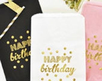 Happy Birthday Favor Bags - Set of 12