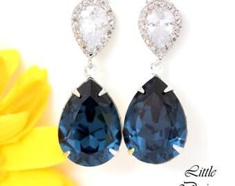Blue Bridal Earrings Swarovski Montana Blue Crystal Earring NavyBlue Sterling Silver Bridesmaid Earring Wedding Jewelry Something Blue MO31P