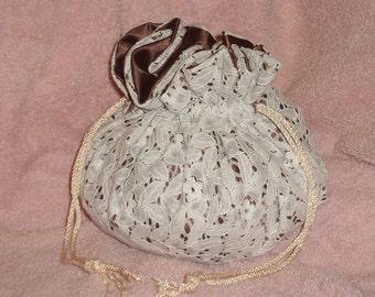 Dark Brown and White Drawstring Bag