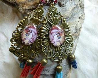 Large loops Bohemian gypsy, cabochons, crystals, and tassels