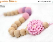 25% off Certified Organic Teething Necklace in pastel baby pink, lavender and crochet flower. Breastfeeding/Nursing mom accessory