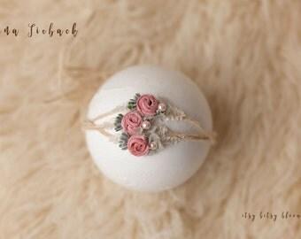 NEW Lina Tieback, Newborn Chiffon Tieback, Baby Photo Prop, Pink Floral Baby Tieback