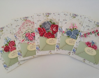 Bridesmaid Wedding Handkerchief Lot Summer Roses Blue Red Green Keepsake Tea Gift Appreciation Thank You Bridal Accessory Hankie Cards