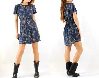 Vintage Dress / Geometric Dress / Transparent Dress / Mini Dress / Small Dress