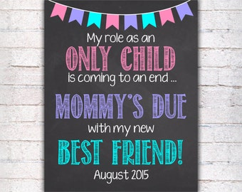 Pregnancy Announcement Chalkboard Poster Printable, Role as an Only Child Coming to an End Pregnancy Reveal, Sign DIGITAL FILE  - 013