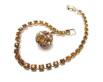 Weiss Amber Rhinestone Tennis Bracelet with ball charm