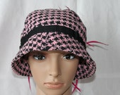 Handmade Pink/Black Checker Ladies Dress/Church Hat