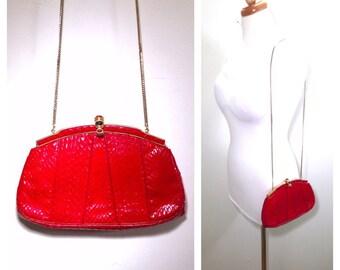 Judith Leiber Red Snakeskin Bag Vintage 1980s Exotic Skin Handbag Chain Link Strap Purse Jeweled Gold Clasp Evening Bag Judith Leiber Clutch