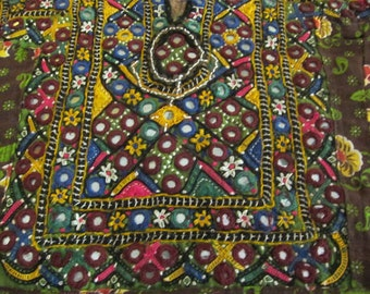 Vintage Gypsy Banjara Fabric Kutchi Fabric Mirrorwork Vintage Indian Fabric Craft Supply Decor Supply Handcrafted Fabric Vintage Banjara KU1