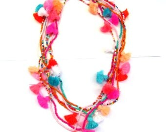 Tassel Seed Bead Necklace for Girls Dainty Seed Fashion Necklace for Children Bright Bead Tassel Necklace for Girls 10 pcs +