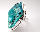 SALE 25% OFF!!! Use the coupon code: SALE25 Turquoise sterling silver ring - adjustable