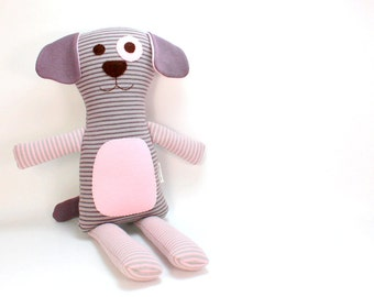 Plush Toy Dog -- Organic Plush Dog  -- Stuffed Animal Dog -- Eco-Friendly Soft Toy Dog from Organic Jersey Fabric -- Striped Plush Dog