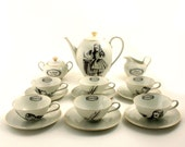 Mad Tea Party Alice in Wonderland  6 Person Set Coffee / Espresso Porcelain Vintage Altered  Unique One of a Kind