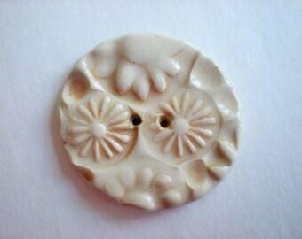 Medium Ceramic Button - orange and cream stamped