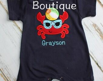 Summer Crab Applique Boys Romper Shortall Arghh Embroidery Summer Shirt Custom Monogram