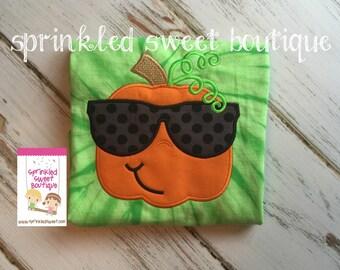 Tie Dye Cool Sunglasses Pumpkin for Girls or Boys Shirt Custom Monogram Fall Applique Embroidery