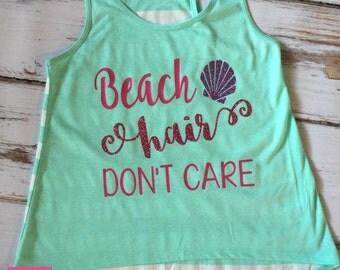 Beach Hair Don't Care Seahorse Glitter Custom Women Girls Child Matching Family Vacation Trip