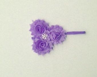 Baby Girls Lavender Frayer Rosette Headband