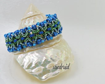 Beaded Chainmail Jewelry, Blue and Green Rondo al a Byzantine Anodized Aluminum Chainmaille Bracelet