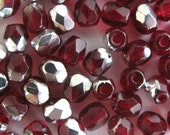 Two Tone Garnet and Silver 4mm Czech Glass Beads - Fire Polished Loose Beads 50 pc