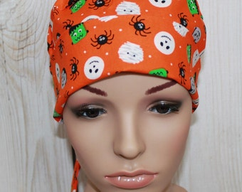 Halloween Fun, Surgical Scrub Hat/ Mini Chemo style hat with band