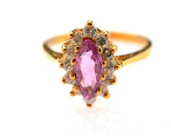 A Pink Sapphire, Diamond, 14k Yellow Gold VINTAGE Estate Gemstone Marquise-cut