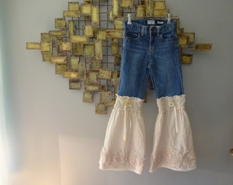 Upcycled Girls Shabby Chic Boho Bell Bottoms size 8 slim